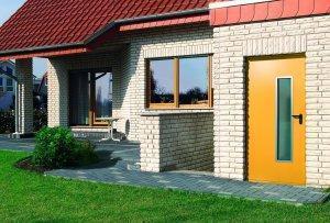 dom z szarej cegły